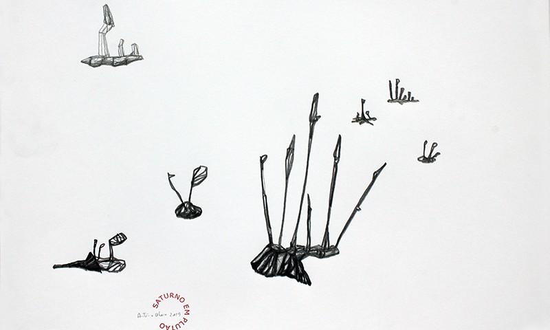 António Olaio - saturno em plutão 12 B, grafite s papel, 42x55cm, 2019