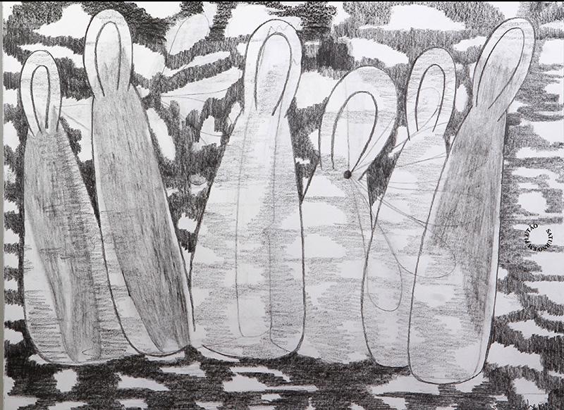 Luis Silveirinha - Saturno em plutao 10A ,grafite sobre papel, 55x47 cm, 2019