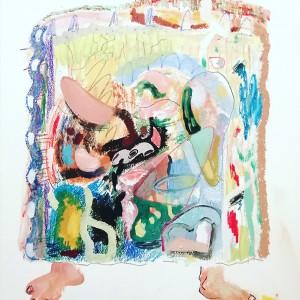 João Melo, st 6, 2019, oleo, aguarela, pastel oleo e lapis cor s papel aguarela, 36x35cm