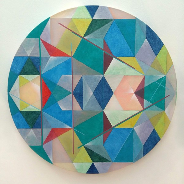 Joana Paraiso, rebatimento, acrilico s tela, 30cm diam