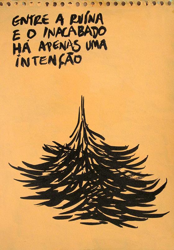 Jorge Leal - entre a ruina, acrilico e tinta da china s papel, 42x29,7cm