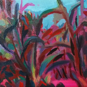 NUNO GAIVOTO - PINKY LAND 2019 -10 x 15cm - acrilico sobre tela bd
