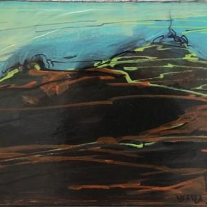 Rui Cunha Viana - paisagem, 24x30cm, 2018, acrilico , pastel e caneta s tela