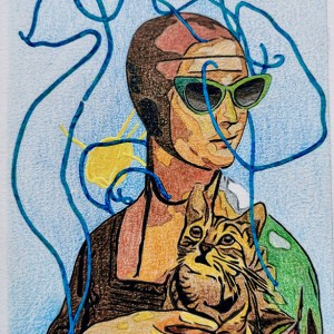 Alvarenga-Marques-Estudo-Lady-with-kitten-18x13cm-lapis-de-cor-e-acrilic-s-papel