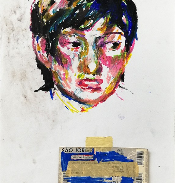 Cecilia Corujo - le combattants, 2015, pastel de oleo e colagem s papel, 42x29cm