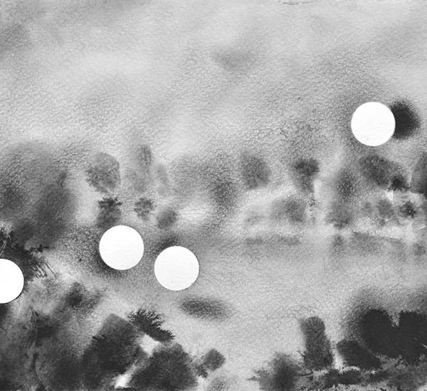 Diogo Costa 5 da série Blind Spots 17,2 x 24,7cm Tinta da china e óleo sobre papel, 2018
