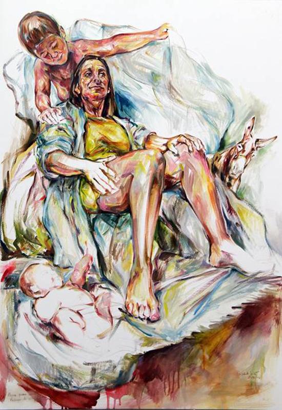 Elizabeth Leite - Só o anjo participava do seu próprio acontecimento, Sem asas, 2016, Óleo sobre papel, 100x74cm