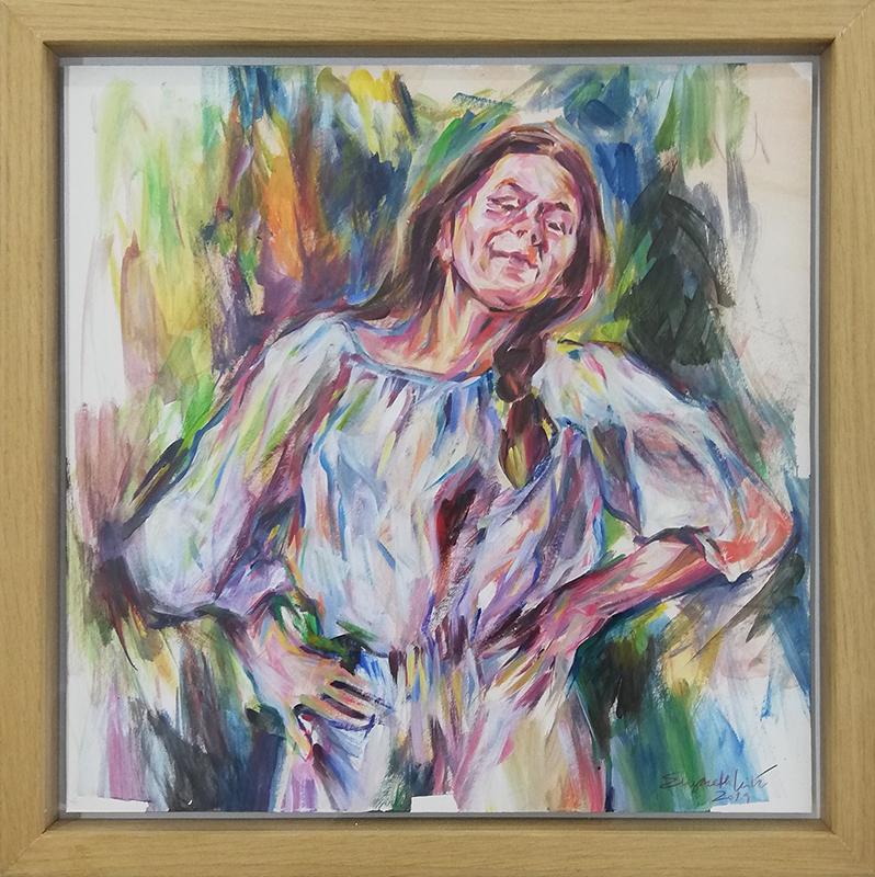 Elizabeth Leite - serie Alegre Minhota - doar, 2019, acrilico s cartão, 34x34cm