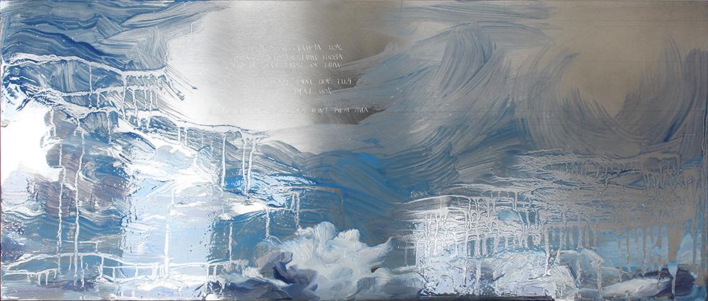 Juliana Julieta - to dissolve in the sky, 2017, 17x40cm, ponta seca e oleo s chapa de aluminio