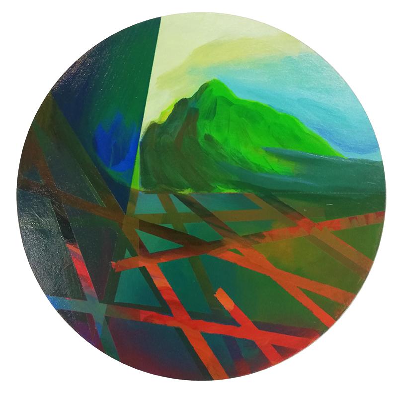 Nuno Gaivoto - Ilha suspensa, 2017, 40,5cm diam, acriliico s tela