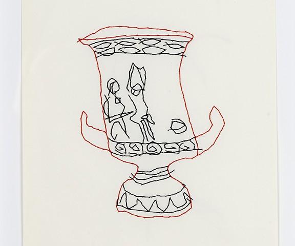 Pedro Valdez Cardoso - Vaso I, 2018-19, bordado s papel, 29,7x21cm