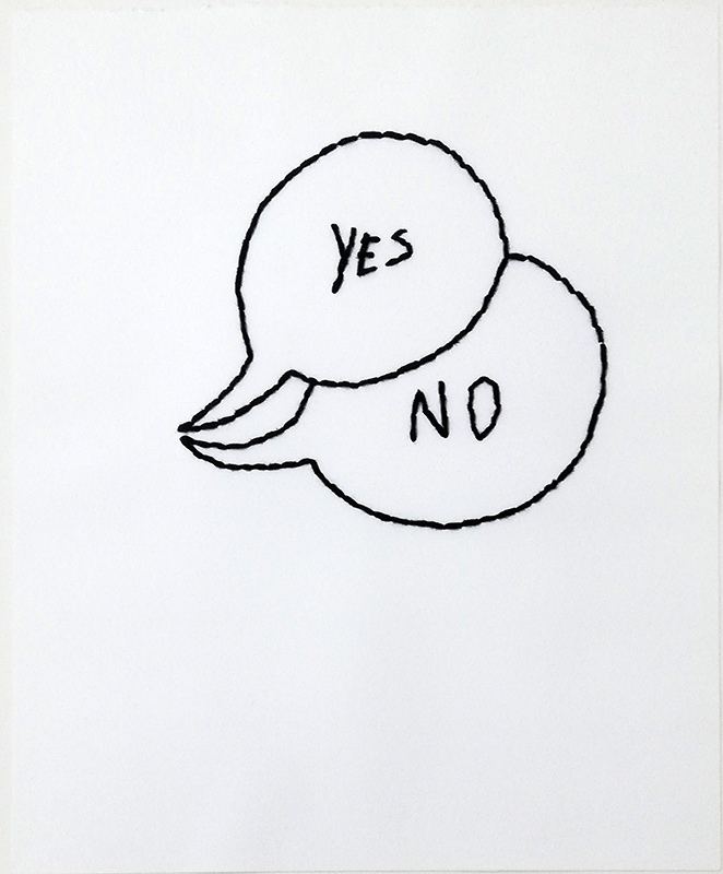 Pedro Valdez Cardoso - yes-no, 2017, bordado sobre papel, 32x26cm