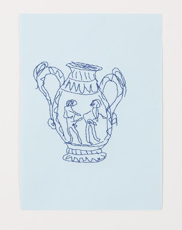 Pedro Valdez Cradoso -Vaso III, 2018-19, bordado s papel, 29,7x21cm