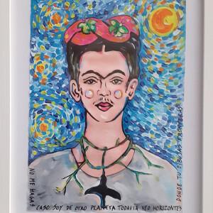 Élia Ramalho - Frida e noite estrelada de vangoh, 2020, acrilico s cartão, 50x25cm