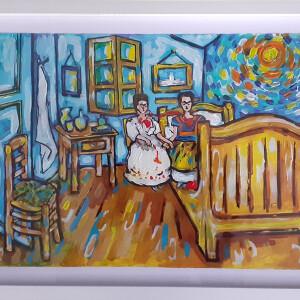 Élia Ramalho - Fridas no quarto de Vangogh, acrilic s cartão, 50x25cm