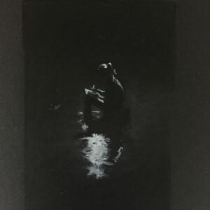 Ana Cardoso - estudo 1, 29x21cm, carvao acrilico e lapis de cor sobre cartolina,