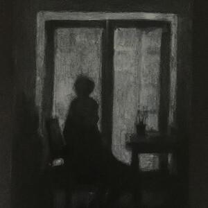 Ana Cardoso - estudo 2, 29x21cm, carvao acrilico e lapis de cor sobre cartolina,
