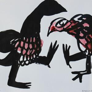 Engracia Cardoso - Pavões, tinta da china s papel, 20,5x21cm