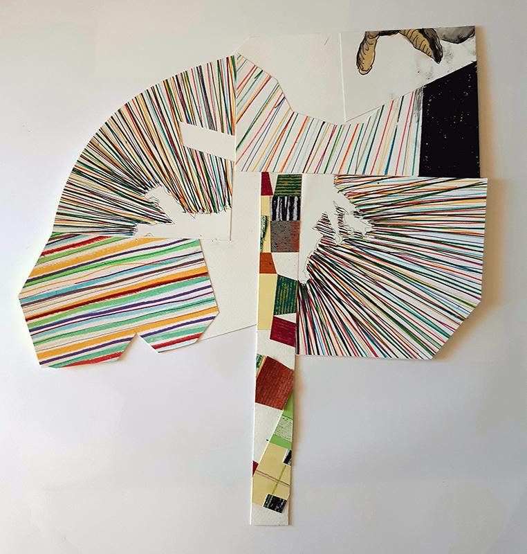 Luis Nobre - Padrões ou formulas de comportamento I, 2019-20, 40x37cm, acrilico, grafite, lapis, e aguarela s papel, colagem
