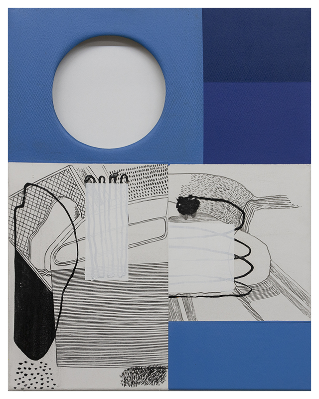 Paulo Moreira - LANDSCAPE WITH A HOLE, 2020 - Acrylic, paper on canvas - 50 X 40 cm