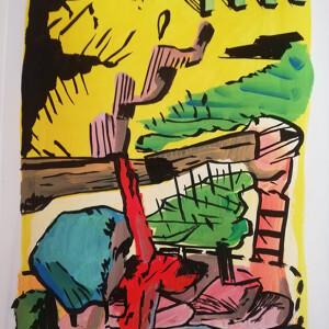 Pedro Pousada - estudo para paisagem provisória 4, acrilico s papel, 21x29,7cm, 2020