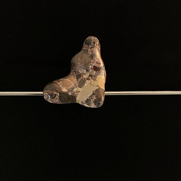 Plácido - st2, brecha da arrabida e aço inox, 2020, 12x41x9cm