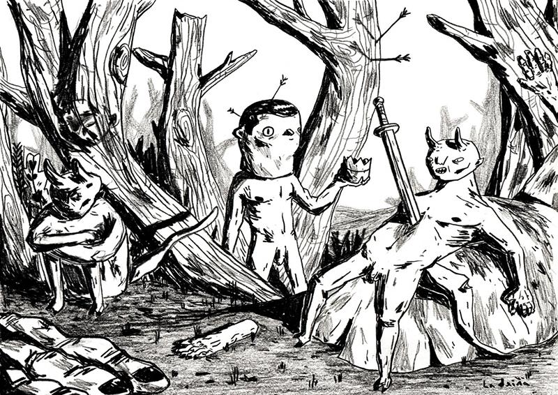 Ricarado Ladeira - Tres diabos, lápis de cor s papel, 21x29,7cm