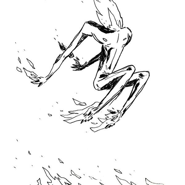 Ricardo Ladeira - Arder contigo, lápis de cor s papel, 21x14,8cm