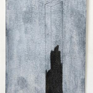 Sebastião Castelo Lopes - Maybe the waves - Carvão e tinta acrílica sobre papel, 14x24cm, 2018-2020