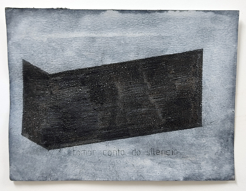 Sebastião Castelo Lopes - Tomar conta do silêncio, 2020, carvão e acrilicos papel, 25x18,5cm, 2018-2020
