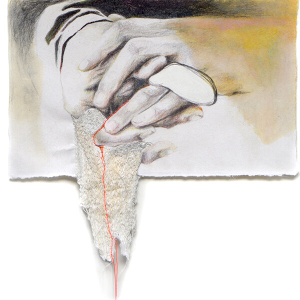Sonia Aniceto - care, 2019, técnica mista sobre drop paper, 29 x 91 cm