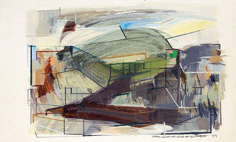 Susana Chasse - Analog-digital 08, mista s papel telado, 2019, 17,8x25,4cm