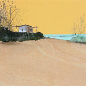 Eduardo Query - El refugio en la playa, 2021, 22x22cm, colagem e grafite em madeira