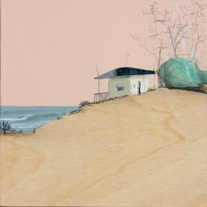 Eduardo Query - Tarde de calma, 2021, 22x22cm, colagem e grafite em madeira