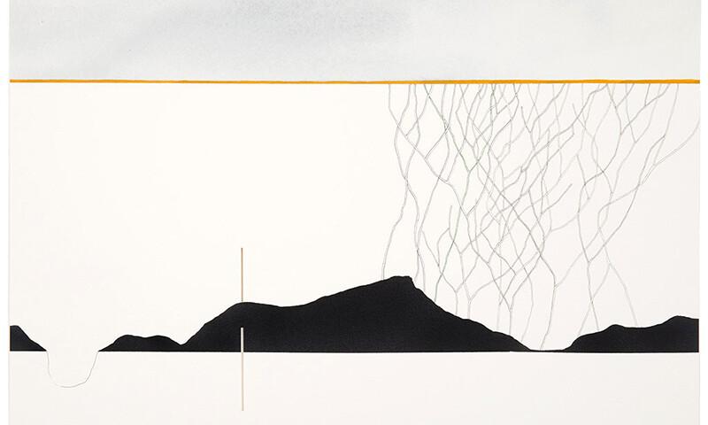 Catarina Leitão - Orografias 16, 2018, agiarela, guache acrilico e corte s papel, 38x48cm