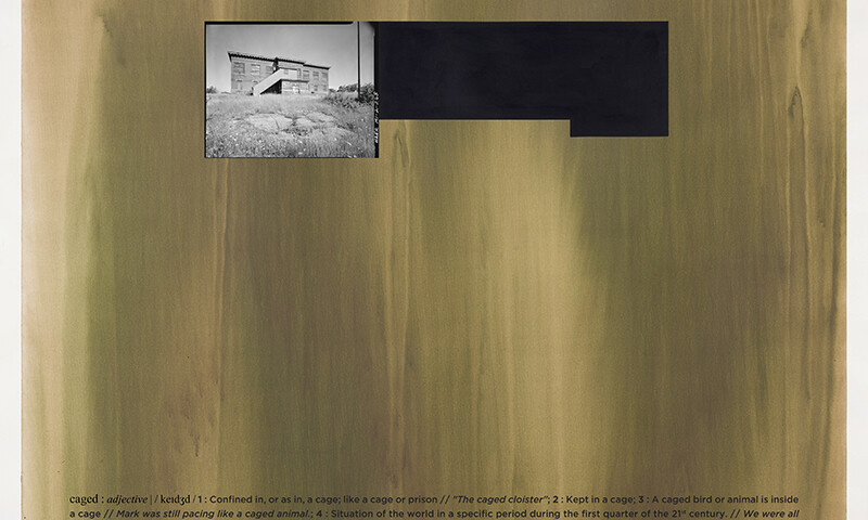 Alexandre Baptista - CAGED 1, 2021, inkjet s papel, acrilico s papel e vinil, 150x150cm