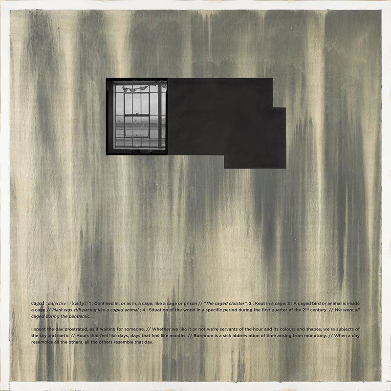 Alexandre Baptista - CAGED 10, 2021, inkjet s papel, acrilico s papel e vinil, 150x150cm