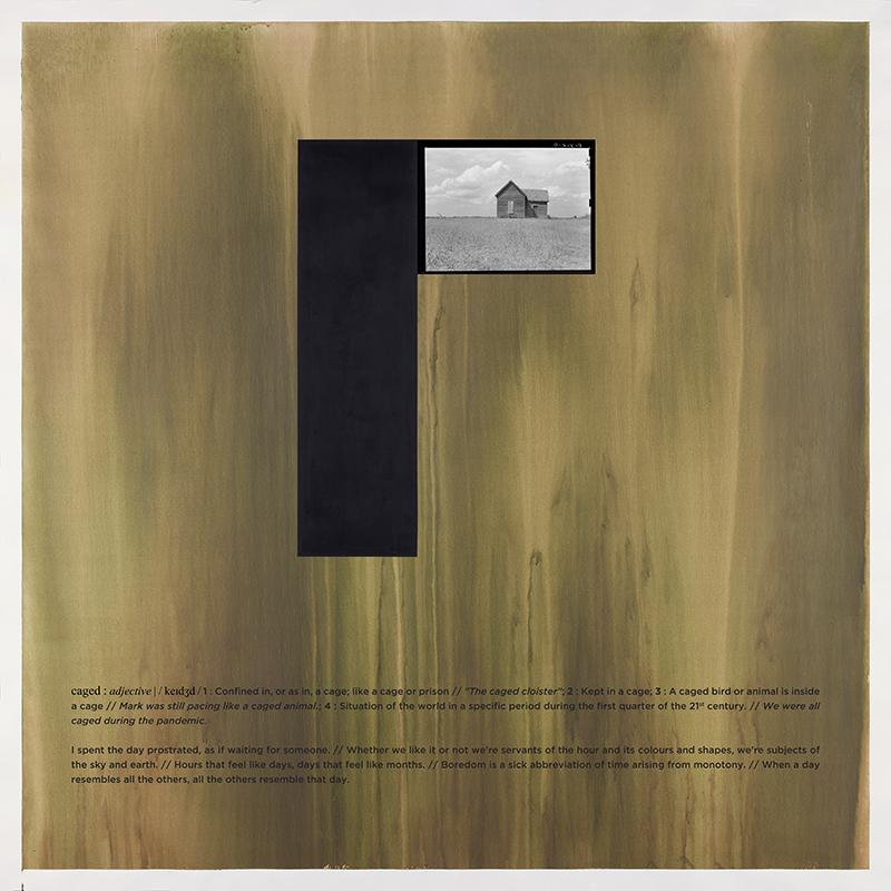 Alexandre Baptista - CAGED 2, 2021, inkjet s papel, acrilico s papel e vinil, 150x150cm