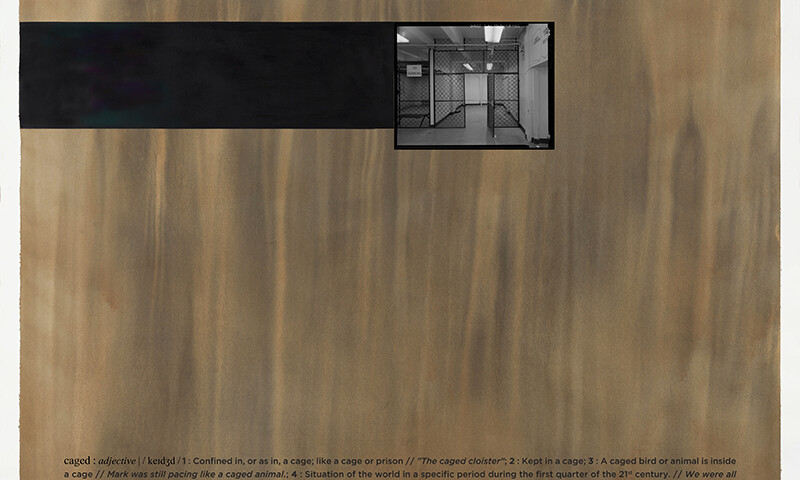 Alexandre Baptista - CAGED 6, 2021, inkjet s papel, acrilico s papel e vinil, 150x150cm