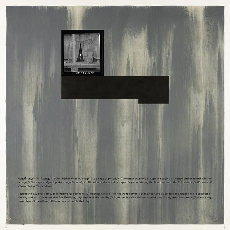Alexandre Baptista - CAGED 8, 2021, inkjet s papel, acrilico s papel e vinil, 150x150cm