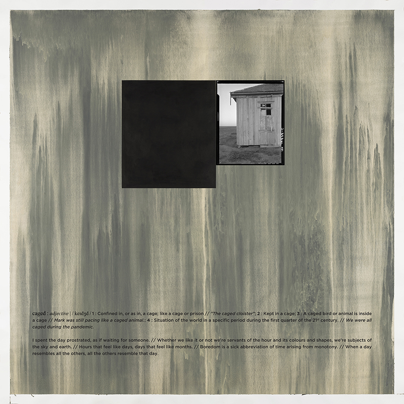 Alexandre Baptista - CAGED 9, 2021, inkjet s papel, acrilico s papel e vinil, 150x150cm