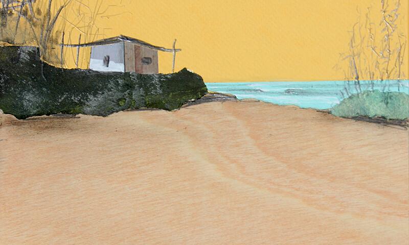 Eduardo-Query-El-refugio-en-la-playa-2021-22x22cm-colagem-e-grafite-em-madeira