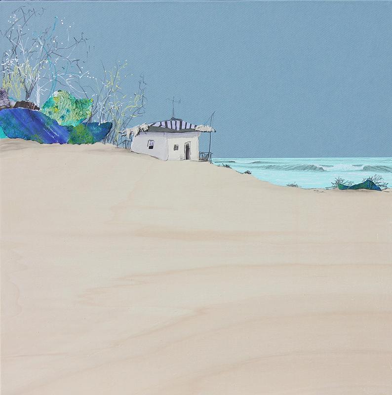 Eduardo Query - dia soleado,2021, 50x50cm, colagem, acrilico e grafite s madeira