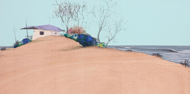 Eduardo Query - la casa de la duna, 2021, 50x100cm, Colagem,acrilico e grafite s madeira