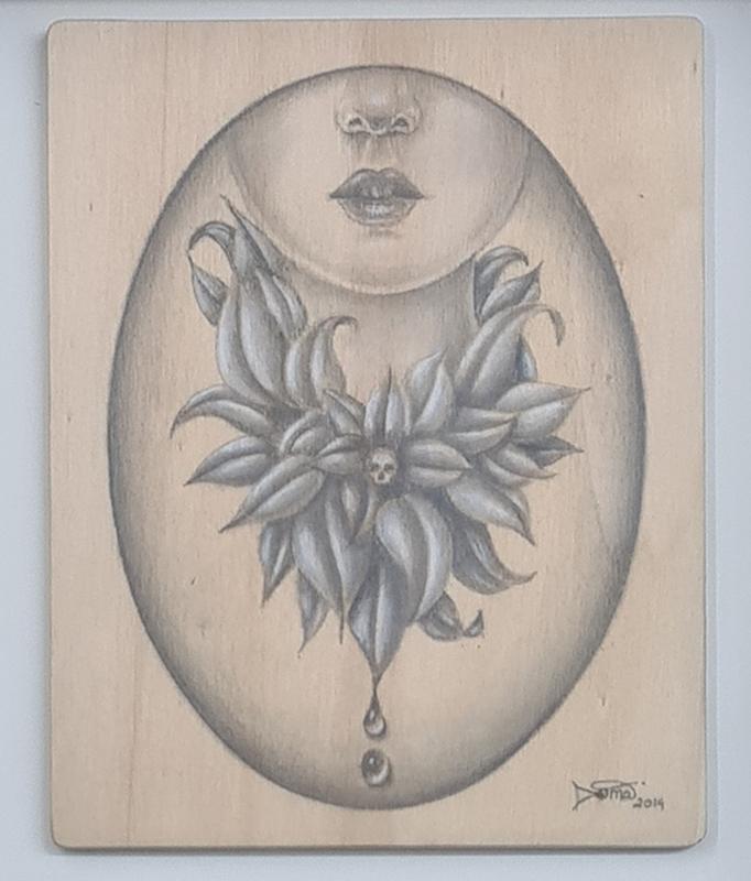 Duma Arantes - Little skul, 2014, 25x25cm, grafite e lápis de cor s madeira BD
