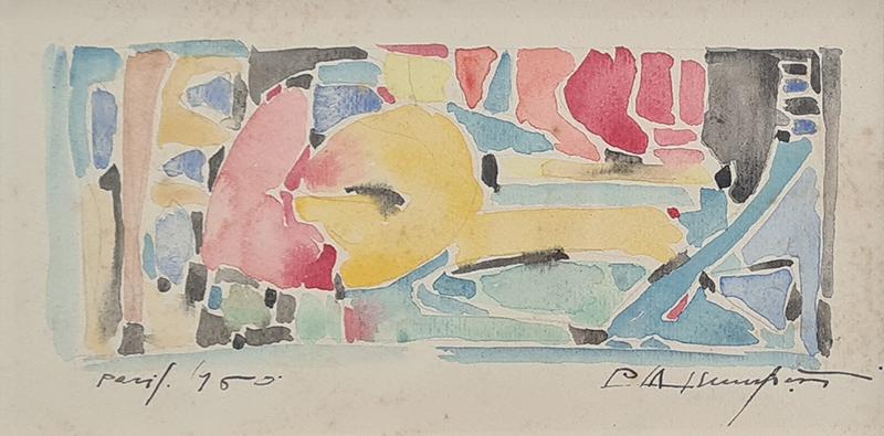 Manuel D'Assumpção - paris, 1960, 8,5x16cm, aguarela sobre papel sm BD