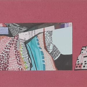 Ana Pais Oliveira, Houses, several corners of the world #62 de 70, 15x30cm (26x41 cm), 2012, Marcadores e colagem sobre cartolina BD