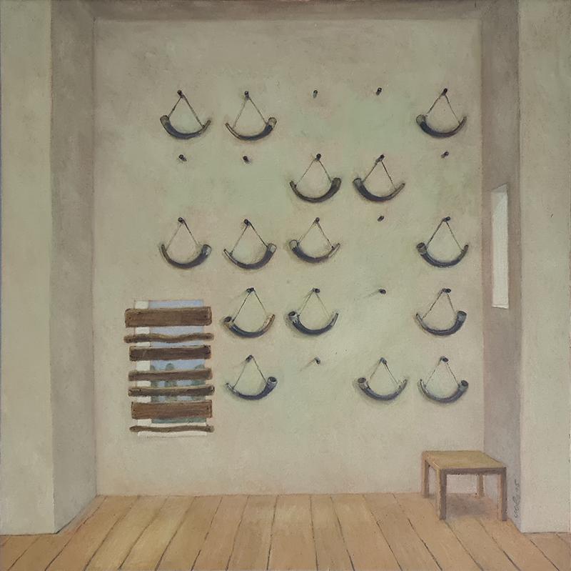 António Melo, Sala de Caça, 2025, óleo sobre tela, 64x64 cm BD